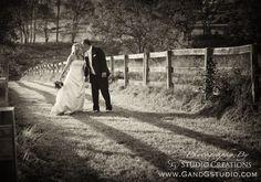 Rustic wedding photo. Bride and Groom sepia