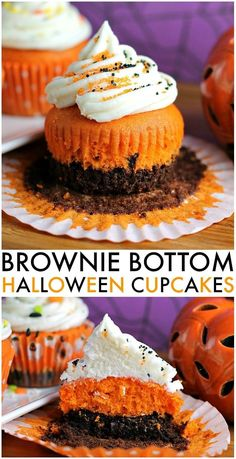 """Brownie Bottom Halloween Cupcakes have a layer of dark chocolate brownie topped with orange cake batter and finished off with buttercream and sprinkles. They are the perfect mix of semi-homemade and """"from scratch"""" to be easy but really fun and festive for Halloween Sweets, Halloween Baking, Holiday Baking, Halloween Party, Halloween Chocolate Cake, Halloween Crafts, Halloween Cupcakes Easy, Holiday Cupcakes, Halloween Witches"""