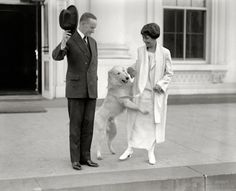 President Calvin Coolidge, First Lady Grace Coolidge and their dog Rob Roy