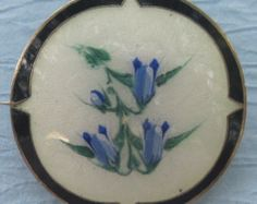 Vintage Norway Sterling And Enamel Blue Bell Flower Pin