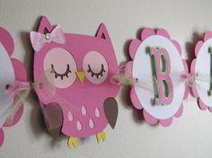 Owl Happy Birthday Banner Happy Birthday by MeadowsBrook Owl Parties, Owl Birthday Parties, Diy Birthday Banner, Happy Birthday Banners, Birthday Ideas, Owl 1st Birthdays, Owl Banner, Fiestas Party, Little Girl Birthday