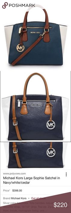 Michael Kors Large Sophie Satchel / Navy, White Navy/White/Cedar with silver hardware. This bag is gorgeous! The Sophie has it all! A status bag with shoulder strap or handles for carrying, logo interior, inside pockets, structured and roomy! It was one of many designer bags and therefore used infrequently. In gorgeous condition. Purchased at the Michael Kors store in Washington. Michael Kors Bags Satchels