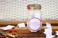DIY Memory Jar tutorial--a great alternative to keeping a daily journal. Includes a downloadable 2016 (and 2017) jar label as well as printable ideas and prompts to fill out. Click to get the free printables.   MakeAndDoCrew.com