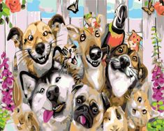 Animals Making Funny Faces Family Painting, Diy Painting, Make Funny Faces, Paint By Number Kits, Creative Activities, Paint Set, To Color, Animal Party, Dog Cat