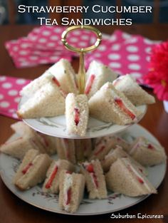 Suburban Epicurean: Strawberry Cucumber Tea Sandwiches-for my fancy friends and I. Cucumber Tea Sandwiches, Tea Party Sandwiches, Finger Sandwiches, Strawberry Tea, Strawberry Recipes, Tea Party Menu, Card Party, Afternoon Tea Recipes, High Tea