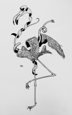 flamingo and snake - line drawing pointillism posca black and white