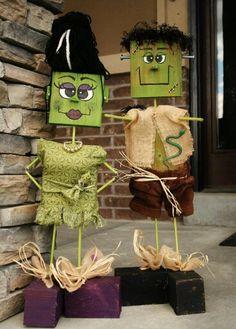 So cute. Wood block Frankenstein (and wife!).