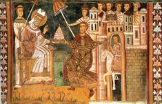 The Donation of Constantine, unknown Italian artist, century. Fresco in the Basilica of Santi Quattro Coronati, Rome. Constantine The Great, Medieval Furniture, Number Of The Beast, Historia Universal, Italian Artist, Medieval Art, Dark Ages, Roman Empire, Middle Ages