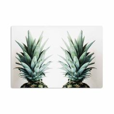 """Chelsea Victoria """"Two Pineapples"""" Green Gold Aluminum Artistic Magnet - KESS InHouse"""