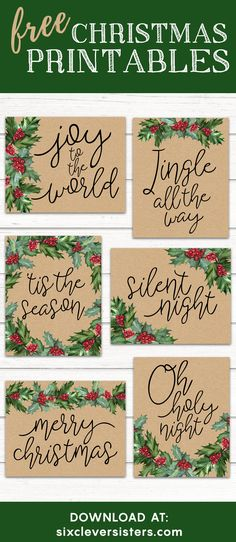 Free Christmas Printables | Kraft paper and holly - Six Clever Sisters