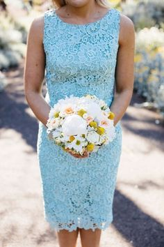 Wholesale 2015 Light Sky Blue Lace Bridesmaid Dresses Scoop Sheath Knee-Length Zipper Back Party Prom Cocktail Dresses Vestidos AN023, Free shipping, $85.7/Piece | DHgate Mobile