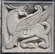 Old bas-relief of fairytale fantasy winged lion on the wall Antony Gormley, Sculpture Head, Sculptures, Lion, Chip Carving, Clay Tiles, Carving Designs, Relief, Stone Carving