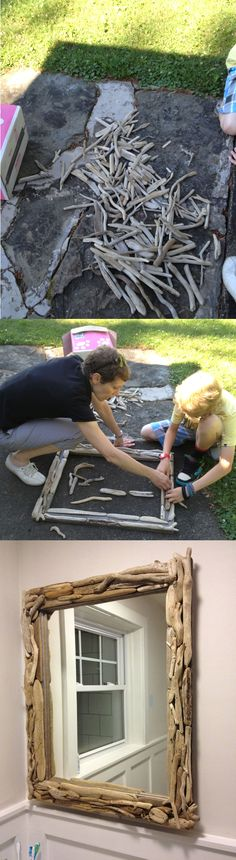 "Build a driftwood mirror.  1) Collect driftwood 2) Bleach and dry out if you wish to sterilize 3) Find a suitable mirror to frame 4) Pick appropriate wood for backing frame that won't show through too much (we used weathered cedar). You could simply paint a pine frame with a gray'ish paint that is slightly darker than your driftwood. 5) Place your driftwood as you see fit 6) Pin the driftwood using a brad nailer (1"" or 1 1/4"" brads in our case). 7) Secure frame to mirror 8) Hang 9) Enjoy!"