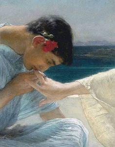 Sir Lawrence Alma-Tadema, Ask Me No More, (1906)(detail)