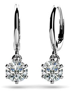 Six Prong Solitaire Diamond Drop Earrings.  These are perfect and so pretty!  I don't wear much jewellery but these are a must for every girl.  I like how they hang rather than just studs, too