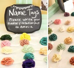 Felt Flower name tags- something cute, feminine, unique & different