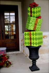 """DIY wrap boxes in plastic table cloth from dollar store! Instant outdoor """"gifts"""" Christmas decor"""