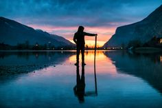 Shadows on the lake. - A particular moment captured at sunset on lake Toblino, Trentino alto Adige, Italy