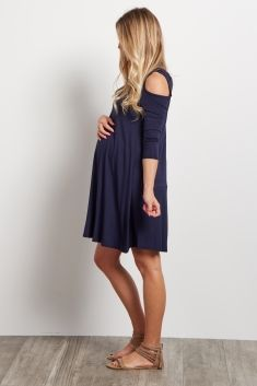 Navy Blue Cold Shoulder Maternity Dress