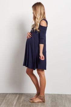 Navy Blue Cold Shoulder Maternity Dress