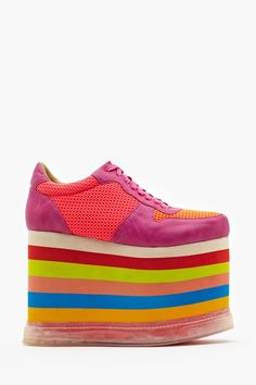Highlite Platform Sneaker: Insanely rad rainbow sneakers featuring an illuminating sole and towering rubber platform. Air Jordan Sneakers, Dad Sneakers, Crazy Shoes, Me Too Shoes, Rainbow Sneakers, Nike Wedges, Kobe Shoes, Oxford, Ugly Shoes