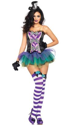 Our 3-Piece Tempting Mad Hatter costume includes bustier with checkerboard bow accents, layered sequin trimmed tutu skirt and matching hat head piece. Check out our Mad Hatter Thigh High Stockings in Hosiery section.