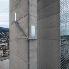 """This scary looking """"stairway to heaven"""" is a real set of stairs attached to the side of a skyscraper - but don't worry, it's just an art installation! Stairway To Heaven, Cantilever Stairs, Outdoor Walkway, Floating Staircase, Spiral Staircase, Staircase Design, Dezeen, Stairways, Installation Art"""