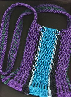 Ply-split bag by Linda Hendrickson. Cords made from perle cotton. Made in Errol Pires' Master Class at Bampton, England, Crochet Jewellery, Weaving Art, Master Class, Twine, Crochet Top, Braids, Textiles, Knitting, Creative