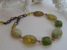 Jade Bead Link Bracelet, Mixed Metal, Fall Color Gemstone, Green Jade Jewelry by Hello Sweetie Handmade