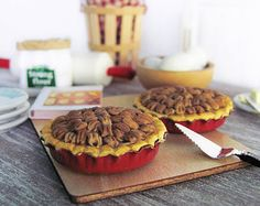Miniature PECAN Pie in Dark Red Cottage Chic Metal Pie Plate - 1:6 Scale Polymer Clay Miniature Food for Fashion Dolls and Action Figures