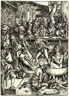 Dürer Apocalypse 1 - The martyrdom of St John - John was brought to Rome by the emperor Domitian and condemned to die in a cauldron of boiling oil for refusing to renounce his faith.