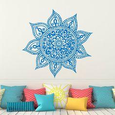 Wall Decal Mandala Vinyl Sticker Lotus Flower Yoga Wall Decals Indian Decor Bedroom Yoga Studio Boho Moroccan Bohemian Bedding Wall Art