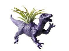 Upcycled Purple Dinosaur Planter  Purple Raptor by DanaCastle, $15.00