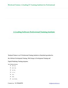 A leading software professional training institute