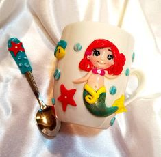 Handmade by Do : Mugs decorated with polymer clay hand made persona.