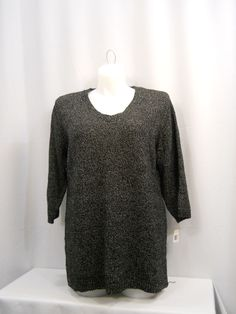Karen Scott White/Black 3/4 Sleeves V-Neck Sweater Plus Size 1X #KarenScott #VNeck