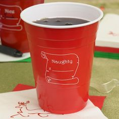 Perfect drink station decorations at your family or company Christmas party this holiday season. Guests will love personalized disposable Solo cups for holding beer, punch, mixed drinks and soda.