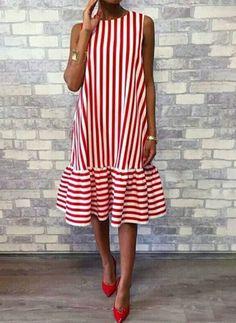 Rundhalsausschnitt Rot Damen Sommerkleid A-Linie Daily Basic Panelled Kleid # . - - Rundhalsausschnitt Rot Damen Sommerkleid A-Linie Daily Basic Panelled Kleid # . Summer Dresses For Women, Summer Outfits, Ladies Dresses, Women's Dresses, Shift Dresses, Dresses Online, Casual Dresses, Fashion Dresses, Look Fashion