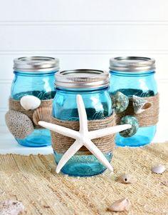 Beach Themed Bathroom Mason Jar Storage Set