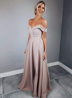 Simple Long Prom Dresses Satin Evening Dresses High Slit Formal Dresses,HS742 #fashion#promdress#eveningdress#promgowns#cocktaildress