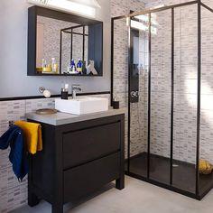 Meuble de salle de bains chêne noir 90 cm Harmon - CASTORAMA