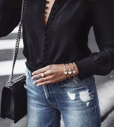 Street style sparkle  @Chopard #HappyHearts bangle bracelet and ring. #Chopard #ChopardPartner