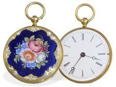 Taschenuhr: Emaille-Miniatur-Damenuhr für den chinesischen Markt, vermutlich Blondel & Melly Geneve