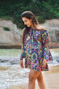 Off shoulder dress 'come on board' C19-024  Baumwolle, Floraldruck, Farbmix, Satinbändchen mit Anhänger Couture, Cover Up, Shoulder Dress, Casual, Dresses, Fashion, Recife, Del Mar, Cotton
