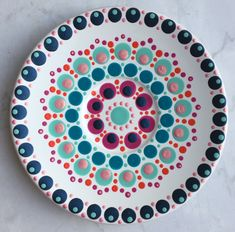 Mandala Painting, Dot Painting, Pottery Painting, Ceramic Painting, Crackpot Café, Plate Drawing, Doodle Background, Paint Your Own Pottery, Painted Plates