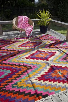This colourful Anatolian (Turkish) kilim is a vintage wedding rug from the 1960s, coupled with Turkish Peshtemal/Hammam Towel :)