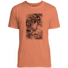 Mintage Weaver Birds Mens Fine Jersey T-Shirt (Coral)