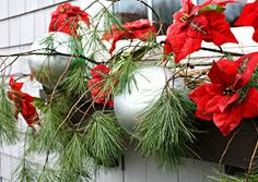 """Christmas Window Boxes - The Lilypad Cottage. So smart she spray painted bouncy balls and put stick in air hole for large size """"ornaments"""" Love this! Christmas Window Boxes, Christmas Holidays, Christmas Ornaments, Cottage Christmas, Christmas Ideas, Silver Ornaments, Winter Window Boxes, Christmas Napkins, Christmas 2017"""