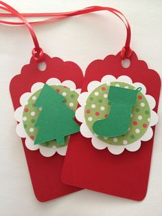 Christmas Tree Gift Tags Stocking Gift Tags Holiday by PaperStrip, $9.00