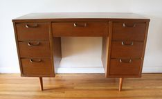 Mid century modern small desk vanity with sculpted brass handles